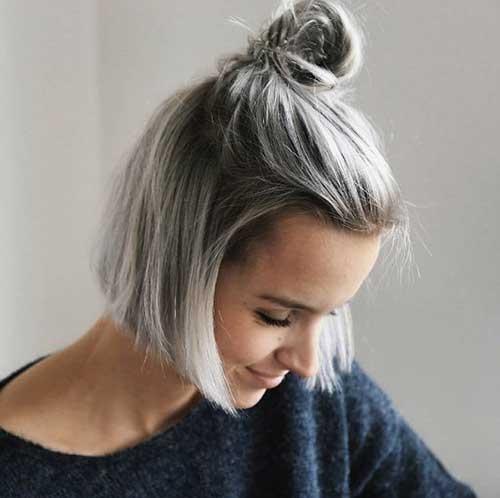 20 simple top knot bun short hair short hairdo Short Hair Bun Styles Choices