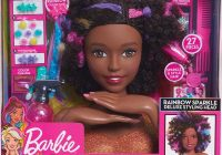 Cozy barbie sparkle deluxe styling head afro hair wholesale African American Doll Head Hair Styling