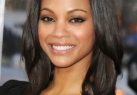 Cozy stylish layered shoulder length hairstyle with blunt bangs African American Layered Hairstyles Designs