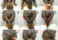 step step messy bun updo tutorial short to medium length Short Hair Styling Tutorials Ideas