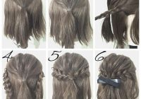 Trend first create a half ponytail then create two braids and Pretty Hair Styles For Short Hair Choices